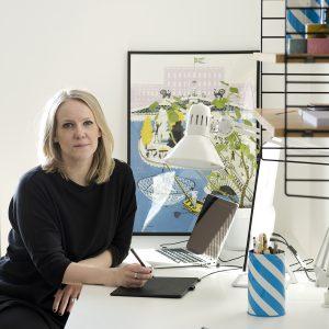 """夏に咲くフィンランドの花をモチーフにした""""コーンフラワー""""をデザインしたJohanna Högväg。自宅のアトリエにて。"""