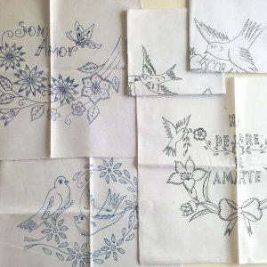 メキシコの刺しゅう図案入りクロス ユーモラスな鳥の表情がおかしい。アウトラインステッチで刺しゅうしてもよさそう。