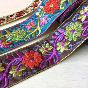 インドのサリーボーダー 民族衣装サリーの端などにつける装飾用のテープです。華やかです。