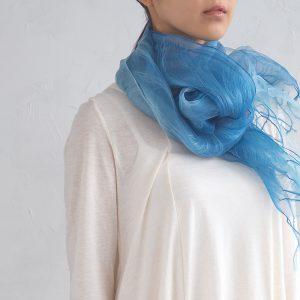 ㈮maito_藍染め絹二重羽衣スカーフ