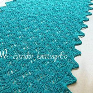 カシミヤ80%セーブル20%の糸でつくる高品質ストールの編み物キット。(毛糸1コーン+レシピ) 波のような形が美しいコリドーニッティングオリジナルの編み柄。