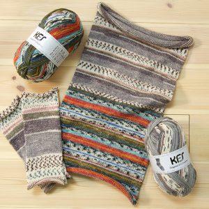 KFS一押しアイテム、サーカス&ランデブーの毛糸を使用した腹巻帽子 形は腹巻、裏返して真ん中でねじってかぶせればなんと帽子に!!! お揃いでサーカスのアームウォーマも
