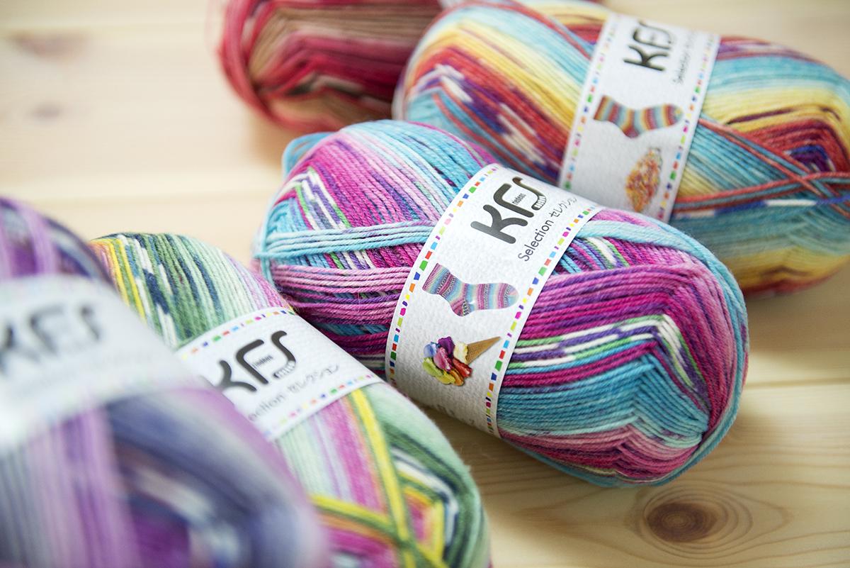 かつてのOpal毛糸の人気シリーズSweet&Spicyから人気のカラーがKFSカラーとして リバイバル。 「アイスクリーム」「スパイス」「シュガートッピング」 「紫キャベツ」「チリ」「キャンディー」