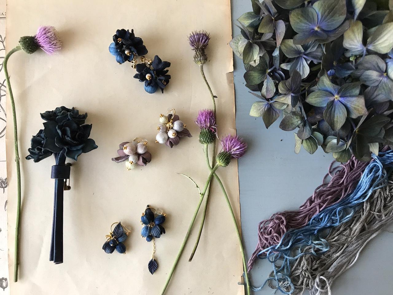 藍染の凜とした青は、ドライフラワーの紫陽花のよう