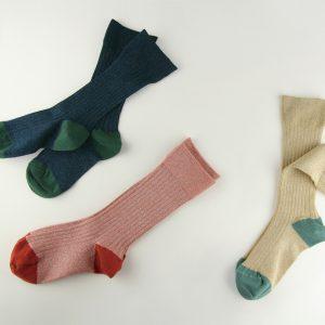 lame-rib socks < coral / blue / gold >