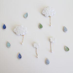 雲のブローチ/雲の耳飾り/ドロップ耳飾り