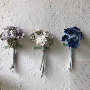 スカビオサの花束。リアリティの追求よりも特徴を掴んで草木染と素材感を生かして作るのがVeriteco流。