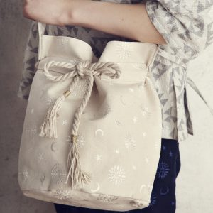 yozora刺繍巾着bagラメwhite