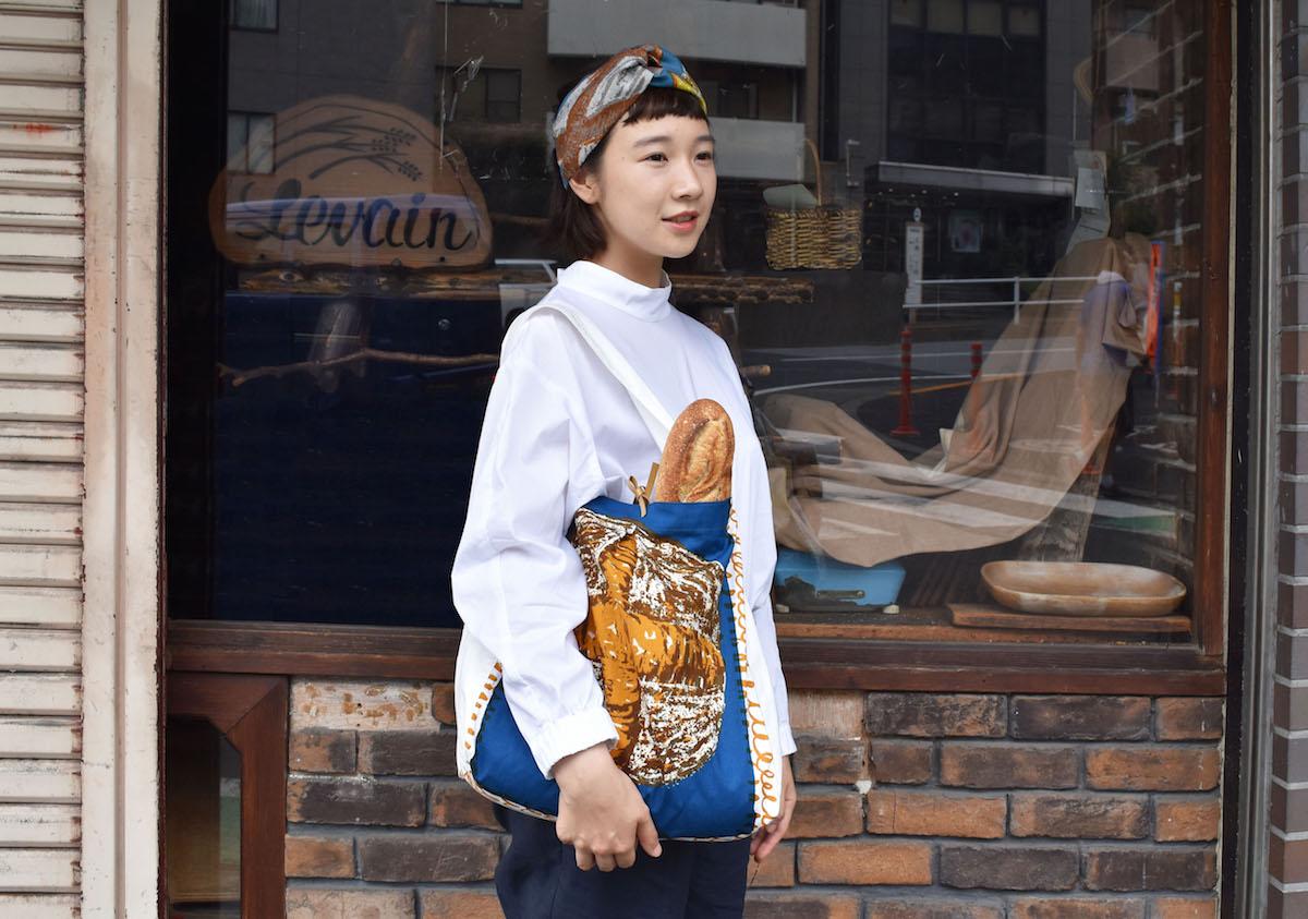 新作shopping bag青バージョンとリネンのヘアバンド