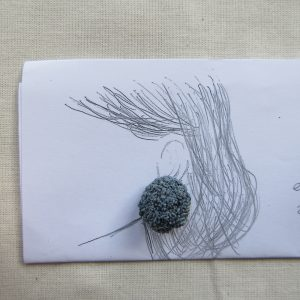 ラフィアを刺繍して作る、耳飾りのキット