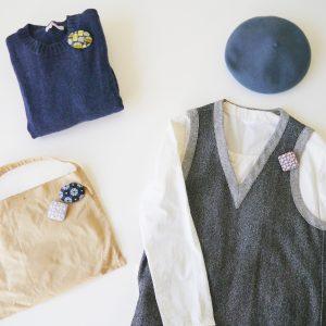 刺繍のブローチは、お洋服につける他、バッグやニット帽につけるのもおすすめ