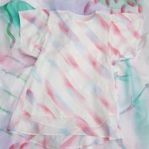 透けないようで透ける繊細なワンピース。clione one piece(batic stripe)/cotton100%(boil) /batic