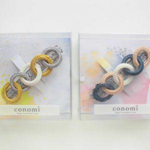 きれいな色の糸の輪を並べて作ったバレッタです。
