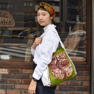新作shoppingbag緑バージョンとリネンヘアバンド