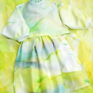 菜の花畑のように鮮やかなセットアップ。two-piece suit(yellow)/rinen100% /batic