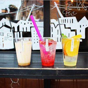 左からカフェ・オ・レ、桜ゼリーといちごのソーダ、柑橘mixソーダ