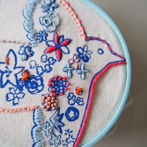 基本のステッチはその場で丁寧に教えますので、刺繍の基本のステッチを覚えたい、初めての刺繍に挑戦したいという方におすすめです。