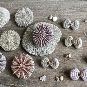サンゴブローチ 貝殻ちょうちょブローチ