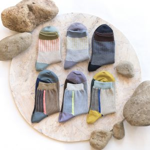 Rib prism socks/Leaf line socks